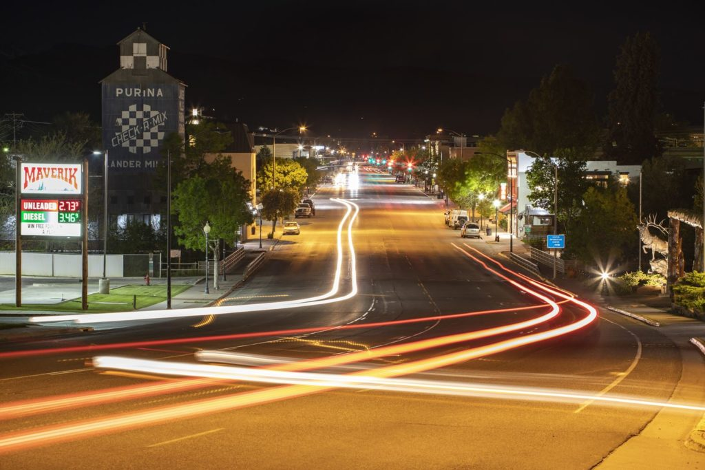 Downtown Lander at night
