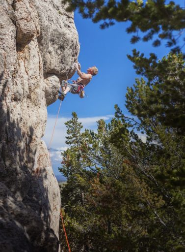 Rock climbing in Lander, Wyoming