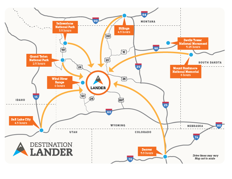 Lander Wyoming map