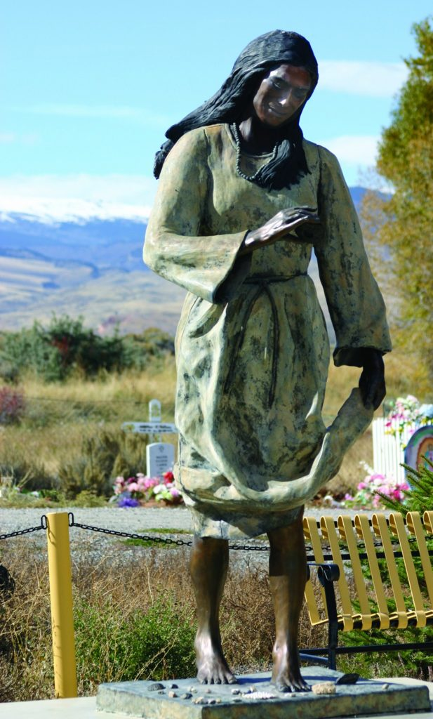 Sacajawea's statue, near her gravesite in Fort Washakie, Wyoming